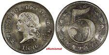 "COLOMBIA 1886 5 Centavos Large""5"" SPECIMENT STRIKE PROOF LIKE UNC  Restrepo# 363"