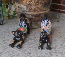 Cat Black Talavera Ceramic Cat Feline Home Kitchen Patio Garden Decorations