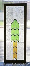 Tall Antique Stained Glass Window Green & Gold Arrow                      (2874)