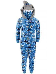 Only Boys Blue Christmas Shark Fleece Hooded One-Piece Pajamas