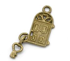 10 Pc Antique Bronze Key& Door Charm Pendants 26x12mm LC2977
