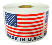 """MADE IN USA Flag Pre-Printed Labels / Stickers ( 2"""" x 3"""") - (1) Roll of 500"""