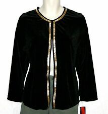 Elementz Womens Jacket Black Gold Trim Velvet Long Sleeve Open Blazer Size L NWT