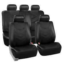 Faux Synthetic Leather Car Seat Covers Airbag / Split Ready Black