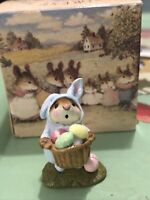 Wee Forest Folk WFF M-082 (M-82) Easter Bunny-Mouse - Blue Edition NIB