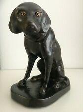 ANTIQUE BRONZE DOG WITH INLAID GLASS EYES