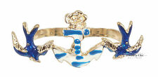 Gold Blue Nautical Anchor Rose Bird Jewellery Double Finger Ring