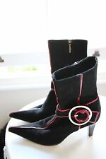 Baldinini Suede Leather Ankle Boots EU 38 UK 5 Black w/ Red Stripe Pointed Toe !