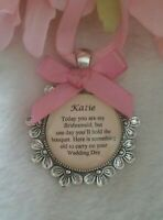 BRIDAL BOUQUET CHARM PERSONALISED WEDDING Bridesmaid Flower Girl THANK YOU.