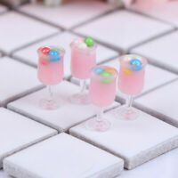 4Pcs 1:12 Dollhouse Miniature Strawberry Juice Cups Doll Kitchen Accessories YK