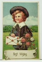 Best Wishes Lovely Boy Card Flowers 1912 Cantawiss to Numidia Pa Postcard I20