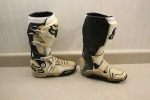 Fox Racing Instinct Boots Size 10 Black & White Dirt Bike MX ATV Boots 7406