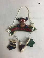 4-Piece Hanging reindeer With Happy Holiday Hanging Sign