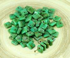 NEW SHAPE 30pcs Picasso Turquoise Green Square Paillettes Squarelet One Hole Chi