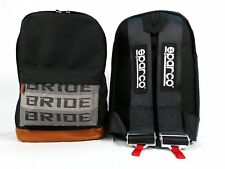 JDM Bride Racing Backpack with Racing Harness Shoulder Straps Seat Belt Black