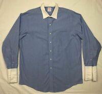 Brooks Brothers 346 Mens Blue Striped L/S Button Down Dress Shirt Sz 16 1/2 B5