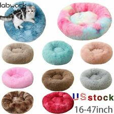 Long Plush Round pet Sleeping Bed Fluffy Calming Dog Bed Kennel Cat Pet Sofa