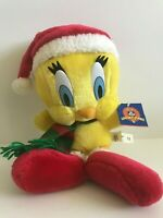 "1998 Play By Play Looney Tunes 15"" Holiday Tweety Bird Plush Stuffed Animal"