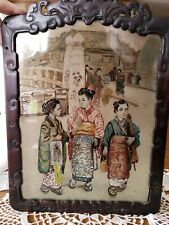 Antique Chinese Japanese Glass Reverse Painting Women Kimono Carved Wood Frame
