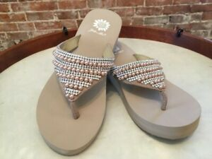 Yellow Box Taupe Leather Myla Jeweled Flip Flop Wedge Thong Sandals 9 NEW