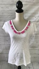 Banana Republic Milly Collection White/Pink Beaded T Shirt ~ Small