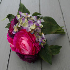 Artificial Pink & Purple Ranunculus with Hydrangeas - Vibrant Artificial Flowers