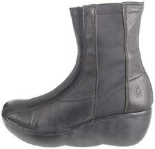 FLY LONDON BLACK LEATHER PLATFORM WEDGE PULL ON ANKLE BOOTS UK 4 EUR 37 RRP £145