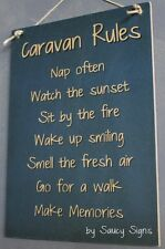 Caravan Rules RV Sign -  Rustic Camping Camper 4WD Wooden BBQ Country Sign
