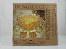 VTG Glass Punch Bowl Set Williamsport Prism Cut 18 Pieces Org Open Box Never Use