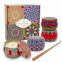 4 Pack 4.4oz Scented Stress Relief Soy Wax Candles Women Gift Set Decorated Jars