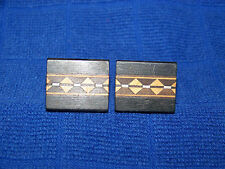 Vintage 1950s 60s Modernist Style Wood Cuff Links unmarked