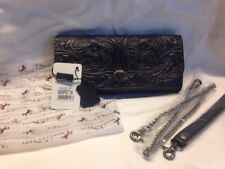 Montana West Woman's Tooled Wallet Genuine Leather Clutch/Wristlet Black Floral