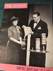 Vintage! THE SPHINX Magic Magazine - JULY 1949 VOL. 48 #5 - Bobo on Cover