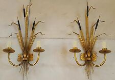 Large Pair Of Gilt Tole Sconces With Reeds And Leaves