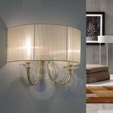 Applique lampada parete design classico elegante oro cristallo paralume salone