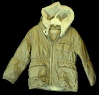 Baby Girls DKNY Gold Faux Fur Trim Hooded Warm Winter Coat Age 18-24 Months