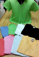 Ladies V-neck short sleeve crop T-shirt. 100% cotton. Made in USA