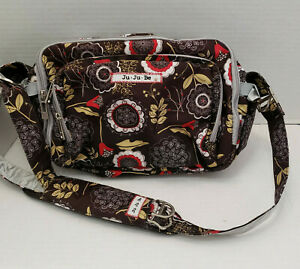 Compact Messenger Baby Diaper Bag Bottle Brown Floral Compartment Strap Stroller
