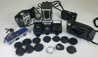 LOT OF 5 VINTAGE ANTIQUE CAMERAS AND ACCESSORIES (11 RANDOM CAPS, 3 FLASHES)