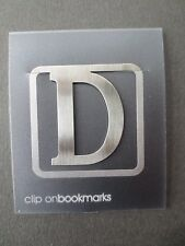BOOKMARK Letter Initial D Alphabet Steel Clip On CHRISTMAS Gift Present