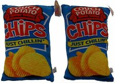 Couch Potato Chips Pillows Lot of 2 Food Fight Throw Soft Realistic Plush Decor
