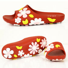 37 NEW $395 PRADA Red PINK WHITE FLOWER Rubber POOL SLIDES Sporty Cute SANDALS