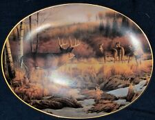 1994 Bradford Exchange Crossing Boundaries Oval Collector Plate Whitetail Deer