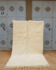 """Moroccan Handmade Beni Ourain Wool Rug 8'8""""x5'3""""  Tribal Berber White Rug"""