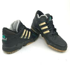 Vintage 90s adidas Equipment Mens 9 Mid Top Black Leather Sneakers Shoes New DS