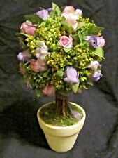 Spring Pink Purple Faux Floral Artificial Roses Topiary Ball Centerpiece w/ Pot
