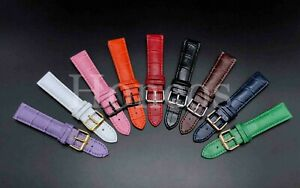 12 - 22 MM Watch Black Leather Strap Band Clasp Replacement Fits For Seiko Watch