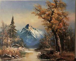 L Harding Teton Canyon Wyoming 24x22 Original Landscape Painting on Canvas