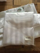 1 White Quality Striped Shower Curtain Weighted Hem  180x180cm