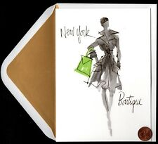 Papyrus Sketched Fashion Girl From New York - Gold Sheen Blank Note Card New